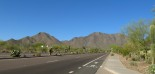 Scottsdale - Thompson Peak Parkway features wide bike lanes and sidewalks, but no streetlights.