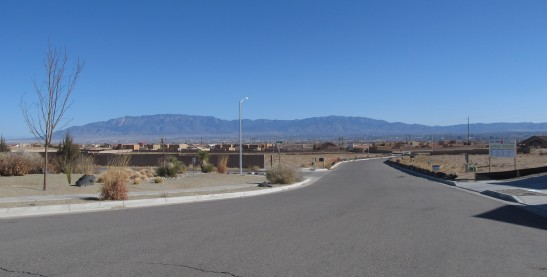 New park in Albuquerque on the west mesa.  The wild grass on both sides of the street is bulldozed and replaced with gravel. This is unfortunate, since wildflowers bloom in this grass during the summer monsoons.