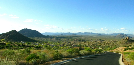 From the Troon Highlands HOA, looking NNW towards the Tonto National Forest, Cave Creek, and Carefree.