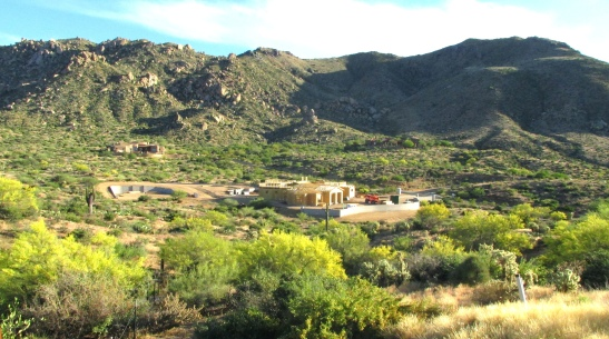 The Estates at Miramonte, very low density, 2.3 to 3.7 acre lots on the south slope of the McDowell Mountains. This photo is looking south.
