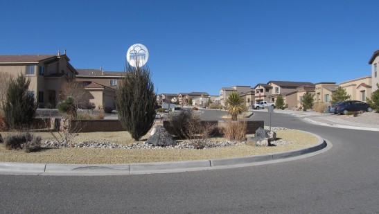 Typical neighborhood with gravelscaping on Albuquerque's west mesa.