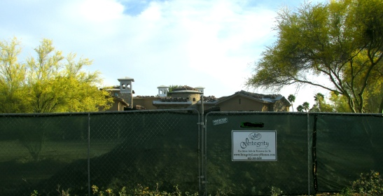 New home in North Scottsdale with native plants preserved.