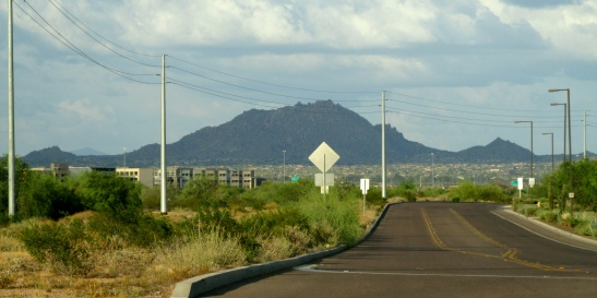 Looking east on Mayo Blvd. towards the McDowell Mountains.